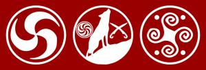 O Trisquel, o Lobo Ibérico entre as Falcatas e a Estrela e a Suástica Espiralar